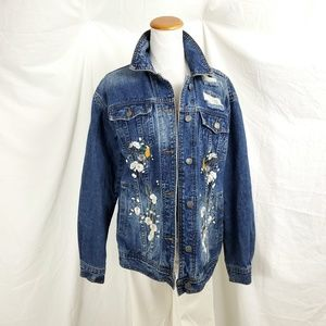 Pieces M Denim Jean Jacket Embroidered DIstressed